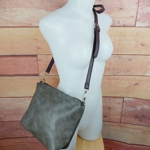 Espe vegan faux leather gray and burgundy purse